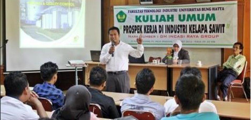 Incasi Raya Grup Kenalkan Prospek Kerja Industri Kelapa Sawit Bagi Lulusan FTI