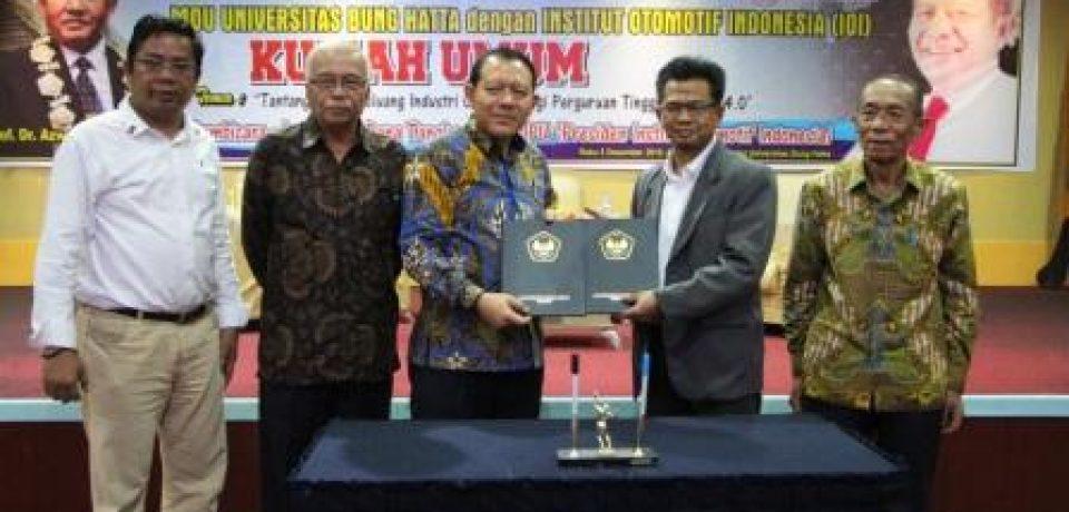 Kuliah Umum dan Penandatanganan MoU Kerja Sama Fakultas Teknologi Industri Universitas Bung Hatta dengan Institut Otomotif Indonesia (IOI)