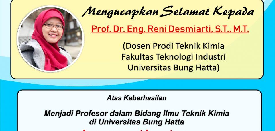 Prof. Dr. Eng. Reni Desmiarti, S.T., M.T., Guru Besar Termuda dari Prodi Teknik Kimia FTI UBH