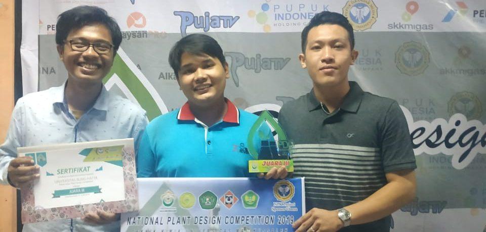 Tiga Mahasiswa Prodi Teknik Kimia FTI UBH Berhasil Raih Juara III dalam Plant Design 2019