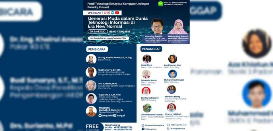Webinar Generasi Muda Dalam Dunia Teknologi Informasi Di Era New Normal