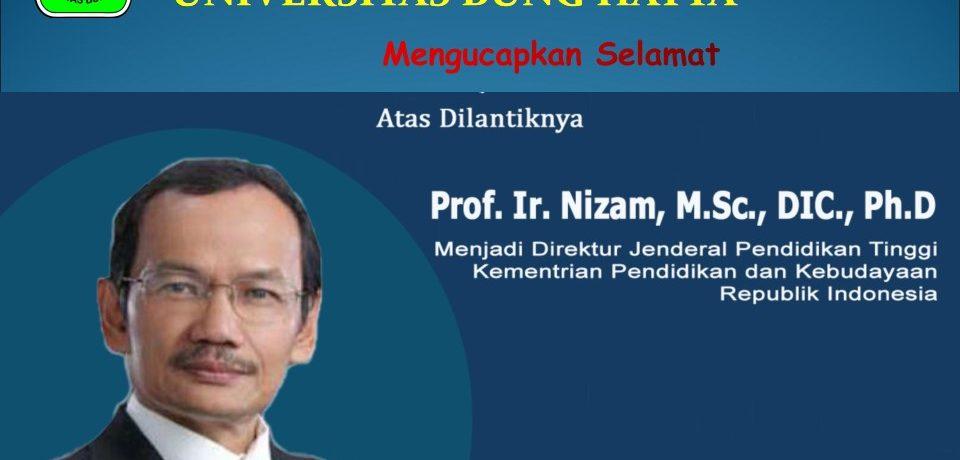 FTI Ucapkan Selamat Atas Pelantikan Profesor Nizam Sebagai Dirjen Dikti Kemendikbud RI